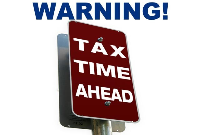 Warning Tax Time Ahead! close up
